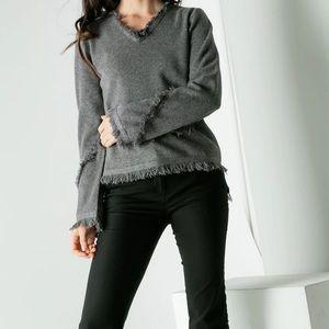 THML grey fringe v neck shirttail sweater